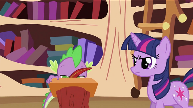 File:Twilight Sparkle looking at Spike writing S2E03.png