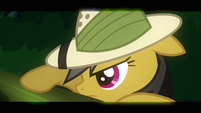 Daring Do peering over a log S2E16