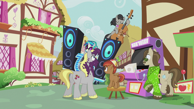 File:DJ and Octavia about to crash into Button, Hughbert, and Dance Fever S5E9.png