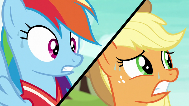 File:Rainbow Dash and Applejack split-screen S6E18.png