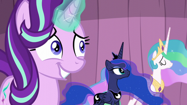 File:Starlight grinning awkwardly; Celestia nodding S6E2.png
