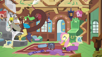 Discord laughing at Fluttershy's suggestion S6E17