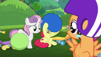 Sweetie Belle sees Apple Bloom putting on her helmet S6E4