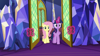 Twilight and Fluttershy return to the throne room S6E11