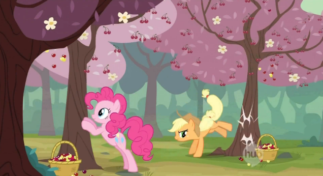 File:Cherrybucking with Applejack and Pinkie Pie S2E14.png
