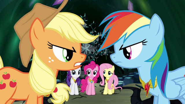 File:Applejack and Rainbow Dash arguing S4E02.png