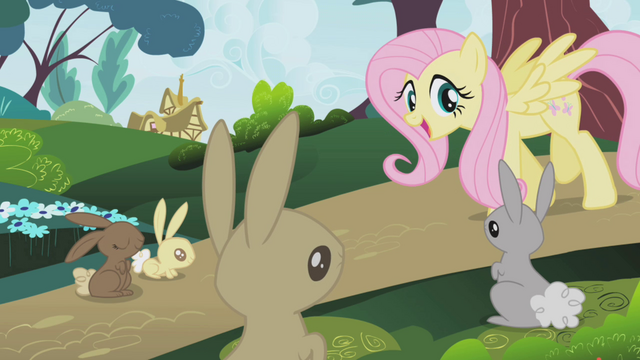 File:Fluttershy politely instructing bunnies S1E04.png