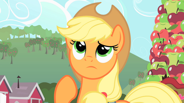 File:Applejack is thinking S1E25.png