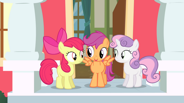 File:Cutie Mark Crusaders decide to come up with a routine S4E05.png