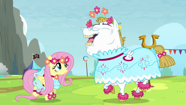 File:Fluttershy and Bulk in dresses S4E10.png