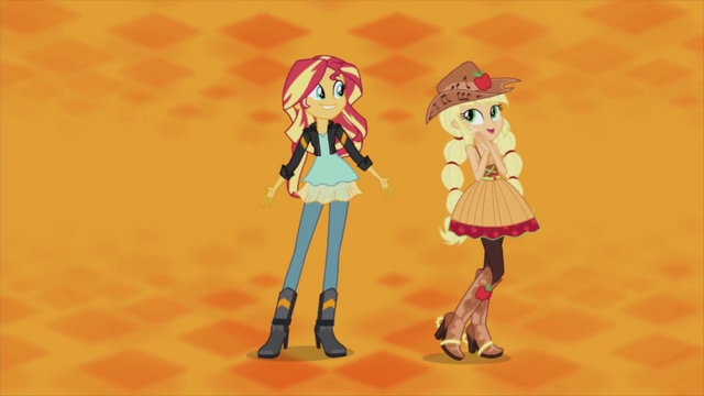 File:Applejack and Sunset on orange background EG2.png