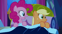 Pinkie Pie appears in Applejack's bed S5E13