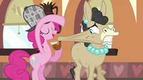 Pinkie Pie shaking off the sprinkles from Mulia's cheek S2E24