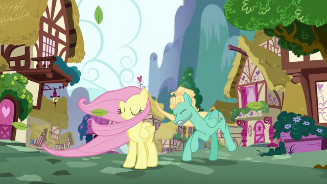 File:Fluttershy and Zephyr swept by the wind S6E11.png