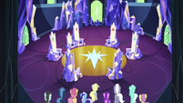 Ponyville residents enter the throne room S4E26