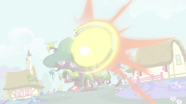 File:Golden Oak Library blasted by the magic beam S4E26.png