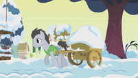 Lucky Clover hauling cart of snow S1E11