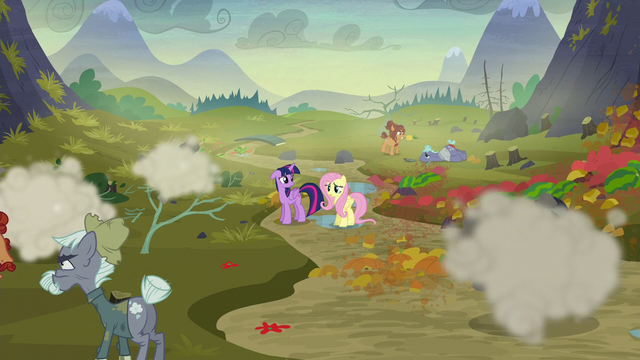 File:Twilight and Fluttershy look at McColts and Hooffields fighting S5E23.png