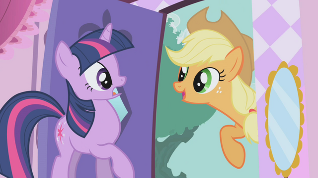 File:Applejack about to drag Twilight outside S1E03.png