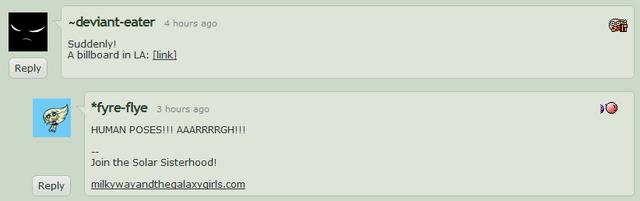 """File:Lauren Faust """"HUMAN POSES!!!"""" DeviantArt comment 2011-06-28.png"""