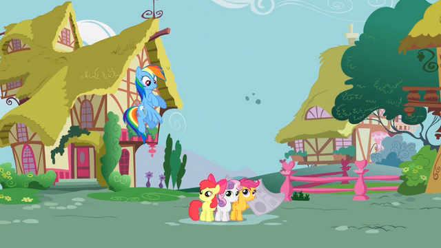 File:Rainbow Dash and CMC S2E23.png