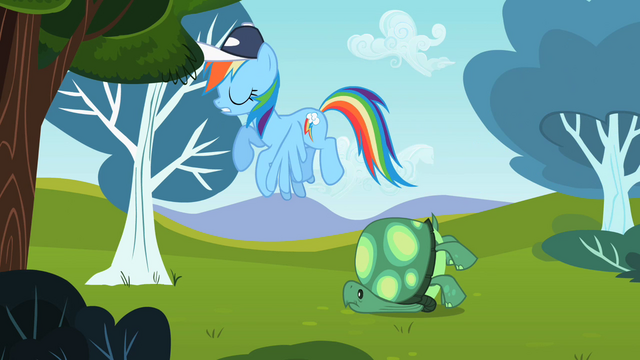 File:Rainbow Dash flying past Tank S2E07.png