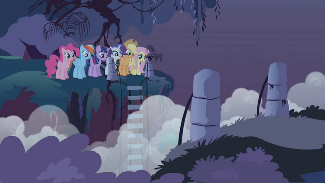 File:The ponies face the bridgeless chasm S1E02.png
