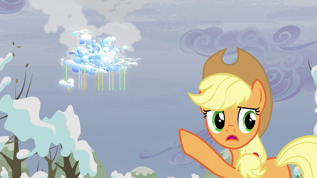 File:Applejack pointing to Cloudsdale S05E05.png