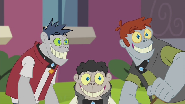 File:Diamond Dogs smiling at Rarity's hairclip EG2.png