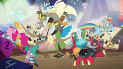 Discord, Spike, Big Mac, RD, and Pinkie jump into action S6E17.png