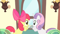 Apple Bloom and Sweetie Belle inside the train looking outside S4E05