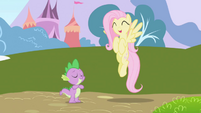 Happy Fluttershy hovers near Spike S01E01