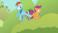 Rainbow and Scootaloo midair back kick S5E17