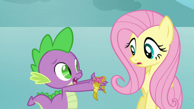 File:Spike gives Fluttershy the Element of Kindness S03E10.png