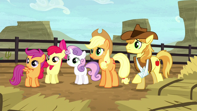 File:AJ, Braeburn, and CMC hear Silverstar S5E6.png