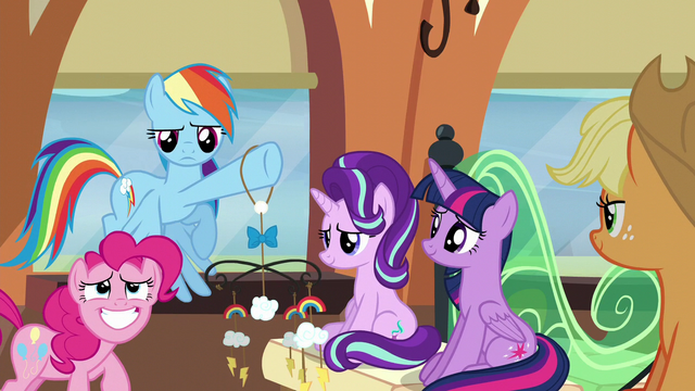 File:Pinkie embarrassed; Rainbow annoyed S6E1.png