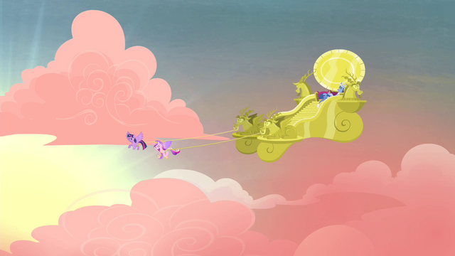 File:Twilight and Cadance pulling chariot S4E11.png