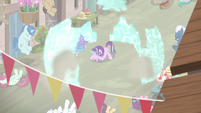 Starlight Glimmer forces the villagers away with a barrier S6E25