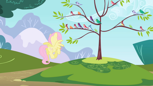 File:Fluttershy directing bird choir S1E01.png