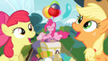 Apple Bloom and Applejack singing S4E09.png