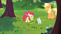 Apple Bloom pointing at rake S4E17