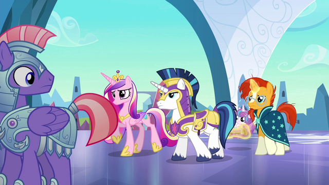 File:Cadance, Shining Armor, and Sunburst arrive S6E16.png
