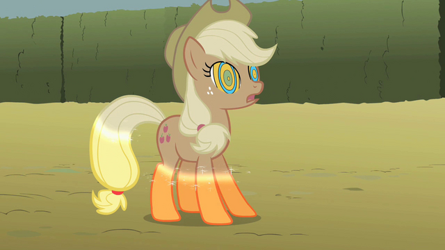 File:Applejack turns colorless S2E01.png
