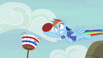Rainbow barely catches Pinkie's goal shot S6E18