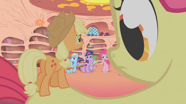 File:Camera zooms out to show Apple Teeny on Apple Bloom's back S1E09.png