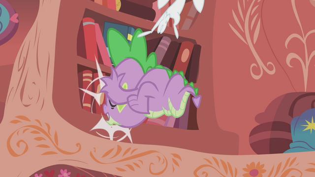 File:Spike slams into the bookshelf S1E07.png