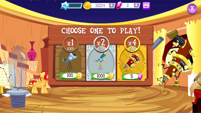 File:Sunset Shimmer playing constellation game MLPMobileApp.png