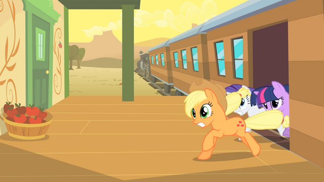 File:The ponies are leaving the train in a hurry S1E21.png