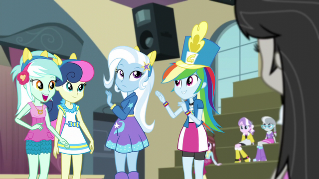 File:Lyra, Sweetie Drops, and Trixie with ears on EG3.png