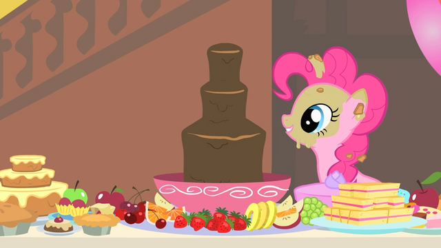 File:Pinkie Pie looks at the chocolate fountain S1E22.png